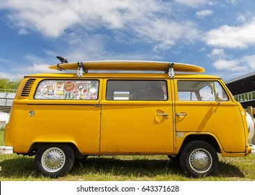 Biarritz,France-May 13,2017: Vintage vehicles are exhibited at the first spring festival in Biarritz.