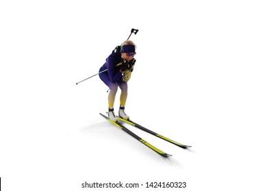 Biathlon sport. Isolated on white.