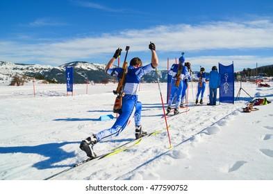 biathlon warm up winter snow, in Metsovo Greece