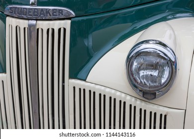 Biberach, Germany, 31 August 2015: American vintage car, close-up of Studebaker front detail
