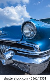 Biberach, Germany, 31 August 2015: American vintage car, close-up of front detail
