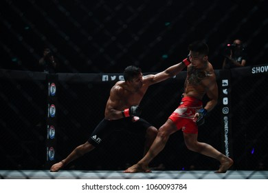 Bibiano Fernandes of Brazil and Martin Nguyen of Australia  in Bantamweight Word Championship on One Championship IRON WILL on March 24, 2018 in Bangkok, Thailand