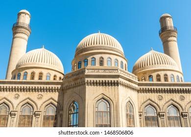 Bibi-Heybat, Baku, Azerbaijan - May 11, 2019.  Minarets and domes of the Bibi-Heybat mosque in Baku.