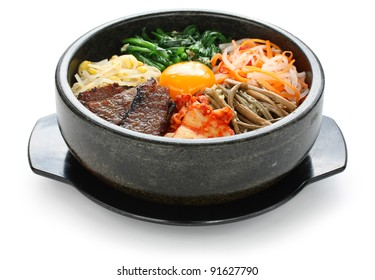 bibimbap in a heated stone bowl, korean dish