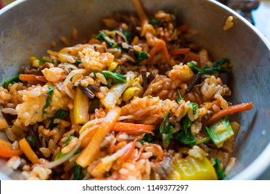 Bibimbap, Korean cooked rice mixed with vegetables