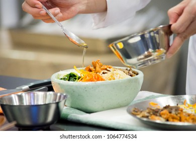 Bibimbap, Korean food, Chef preparing food, meal, chef cooking in kitchen
