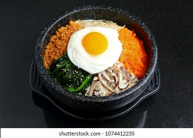 bibimbap on black background