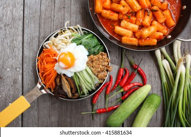 Bibimbap and rice cake korean food