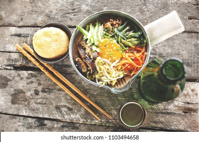 Bibimbap and soju Korean food