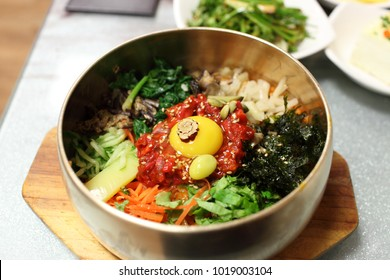 Bibimbap with various colors. Bibimbap is  Korean traditional food.