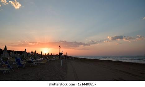Bibione Beach at morning, sunrise, ocean, Italy