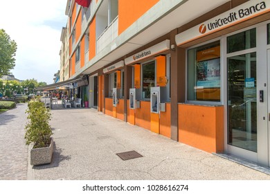 Bibione , Italy - 21 July, 2017: Bibione city center. vacation in a sunny city, summer.