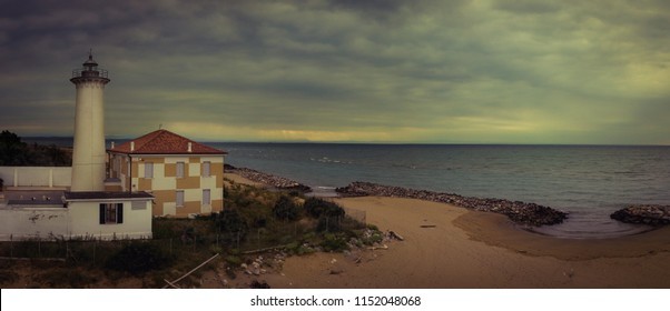 Bibione (Italy) - July 2nd, 2018: Lighthouse on the Adriatic riviera,in the early morning