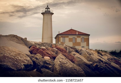 Bibione / Italy - June 15th,2018: Lighthouse on the Adriatic riviera,in the early morning