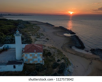 Bibione (Italy) - June 16th,2018: Lighthouse on the Adriatic riviera,in the early morning