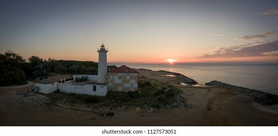 Bibione (Italy) - June 16th,2018: Panoramic view of a lighthouse on the Adriatic riviera,in the early morning