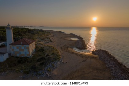 Bibione / Italy - June 17th,2018: Lighthouse on the Adriatic riviera,in the early morning