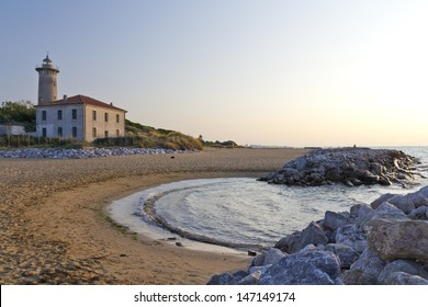Bibione - The lighthouse on the beach at the mouth of the river Tagliamento - Veneto, Italy