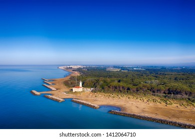 Bibione Lighthouse on the coastline of the Adriatic Sea close to Lignano in Friuli, Italy.
