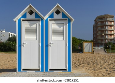Bibione (Ve), Italy, Adriatic Sea, some cabins on the beach