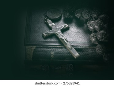 Bible and cross religious concept image