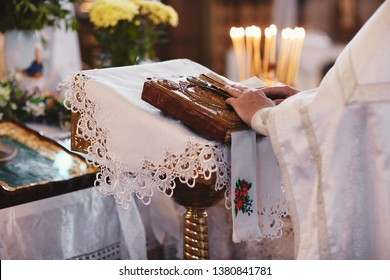 Bible on altar table. Faith and religion concept. Preaching background. Church interior. Lord's table concept. Holy holidays and Christmas concept. Christianity tradition.