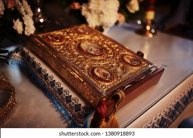 Bible on altar table. Faith and religion concept. Preaching background. Church interior. Lord's table concept. Holy holidays and Christmas concept. Christianity tradition