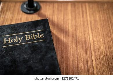 bible on church pew