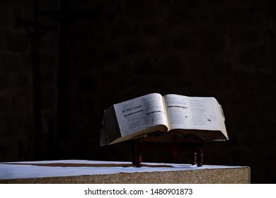 Bible open on an altar in a church