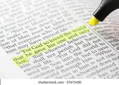 Bible passage with john 3:16 highlighted in yellow, with highlighter pen partially in frame