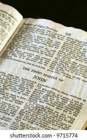 Bible Series. close up detail of antique holy bible open to the gospel according to the third epistle of John in the new testament