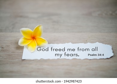 Bible verse quote - God freed me from all my fears. Psalm 34:4. Spiritual or religious inspirational text message on white paper note with a yellow Bali frangipani spring flower on white background.