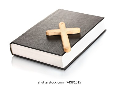 bible and wooden cross isolated on white