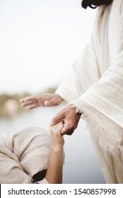 A biblical scene - of Jesus Christ healing the female with a blurred background