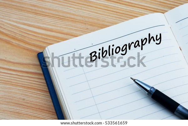Bibliography text written on a diary