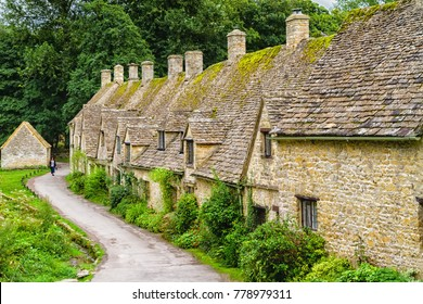 BIBURY, ENGLAND - SEPTEMBER 5, 2016: Houses of Arlington Row in the village of Bibury, The Costwolds, England, United Kingdom