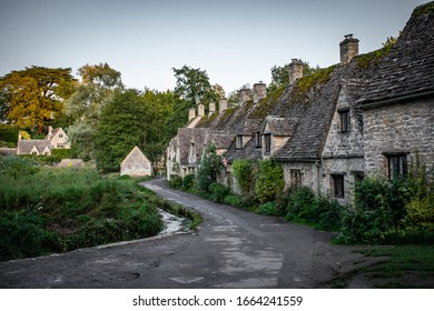 Bibury houses in Cotswold, England, UK Sept, 5 2019