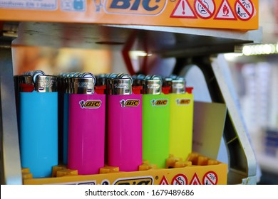 Bic brand lighters for sale on the shelves of a local grocery store-Athens Greece March 22 2020
