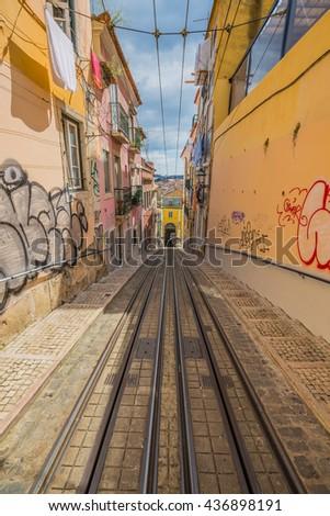 Bica Elevator Tram Lisbon Portugal Stock Photo Edit Now 436898191