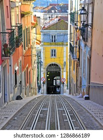 Bica funicular, historical place. Colorful building of Lisbon old town, Portugal