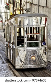 The Bica Funicular in Lisbon, Portugal.