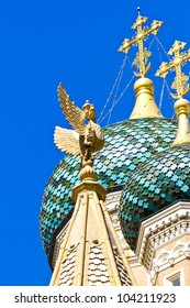 Bicapital eagle. Russian Orthodox Cathedral of Saint-Nicolas de Nice is a national monument of France, located in the city of Nice, French Riviera. Opened thanks to the generosity of Tsar Nicholas II.