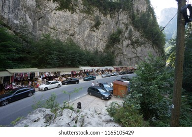 Bicaz, Romania. August 14, 2018. Canyon road Gorges  with flea market on the road