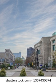 Bicentennial Mall in downtown Raleigh NC, with the Museum of Natural Sciences on the right, Museum of History on the left