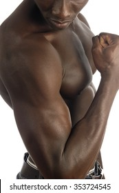biceps of an African man with white background