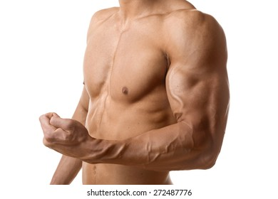 Biceps and pecs muscle of a young athletic man