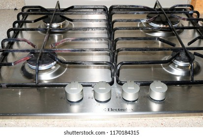 Bicester, Oxfordshire, UK 02.09.2018 - Electrolux steel four ring gas cooker hob