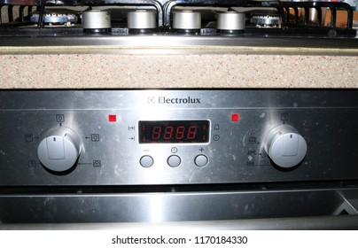 Bicester, Oxfordshire, UK 02.09.2018 - Electrolux oven front and steel four ring gas cooker hob