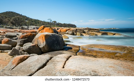 Bicheno Blowhole, Bay of fires, Tasmania.  Captured adjacent to the blowhole showing dramatic coastline with long exposure to smooth waves.