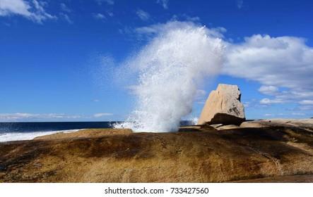 bicheno   blowhole spouting  in  bicheno, tasmania, australia
